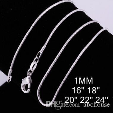 Alta qualità 1MM 16-24 pollici argento 925 catena del serpente dei monili collana di modo più economico del serpente di trasporto collana