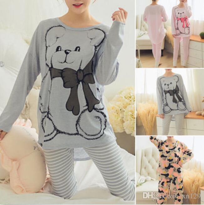 Women Sleepwear Long Sleeve Pajamas Sets Character Printing Home Suit Nightwear