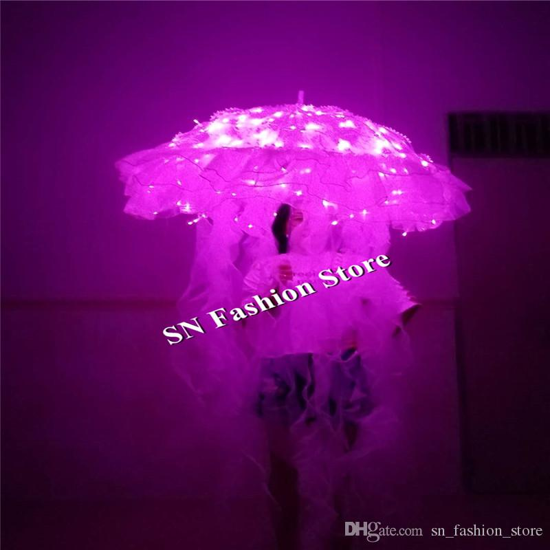 BC22 Ballroom dancer stage wears led costumes luminous dj singer dress led Jellyfish glowing umbrella party bar model show cloth catwalk dj