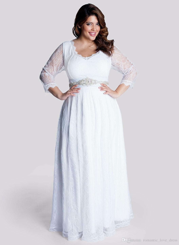 Plus Size Full Lace Chiffon Wedding Dresses 2019 New Custom Floor Length Beads Sash 3/4 Long Sleeve Empire Maternity Bridal Gowns W304