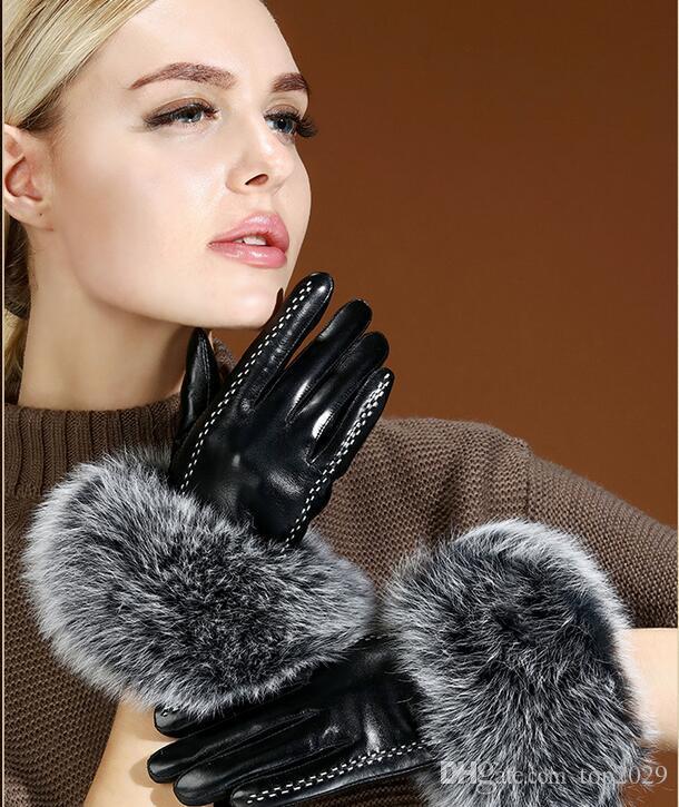 Women winter fur top quality Genuine Leather Sexy Luxury Driving touch screen gloves Plush rabbit fur soft warm sheepskin finger gloves
