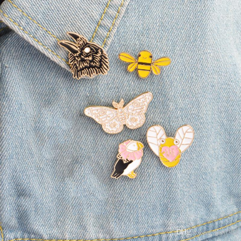 2018 Brooches & pins Eagle butterfly bee bird Animal brooch Animal brooches pins collection Hard enamel jewelry