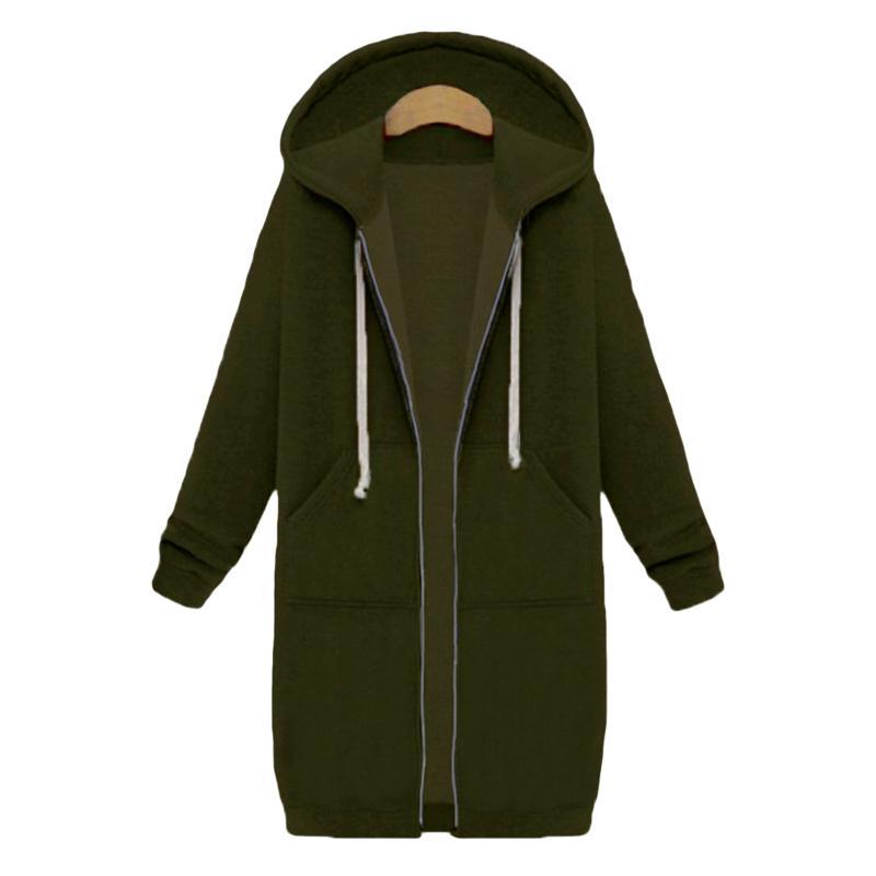 Discount 2018 Cardigan Sweatshirt Harajuku Women Long Hoodies Zipper Hooded Sweatshirt Autumn Winter Coat Outerwear Casual Female Jacket
