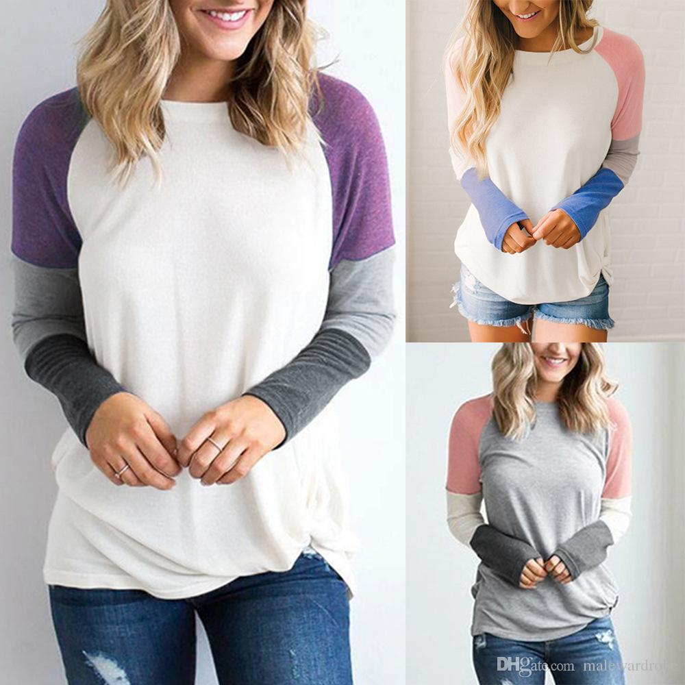 Frauen Designer T-shirt Herbst Frühling Herbst Neue Farben Patchwork Design Casual Süße Nette Tops Langärmelige T-shirt