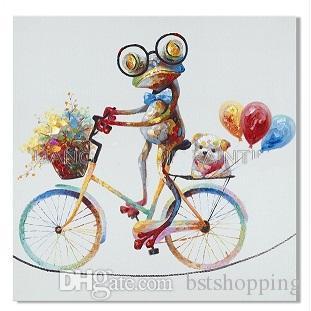 Lustiger Entwurf Frosch mit Brille auf einem Fahrrad handgemaltes modernes abstraktes Tierkunst-Ölgemälde auf Segeltuch-Wand-Kunst-Ausgangsdekor a171