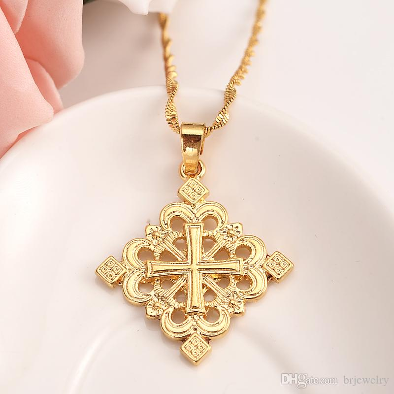 vintage Ethiopia corss knot king pendnat Necklaces Gold Color Pendant Chain Gold wedding bridal Jewelry Accessories best gift