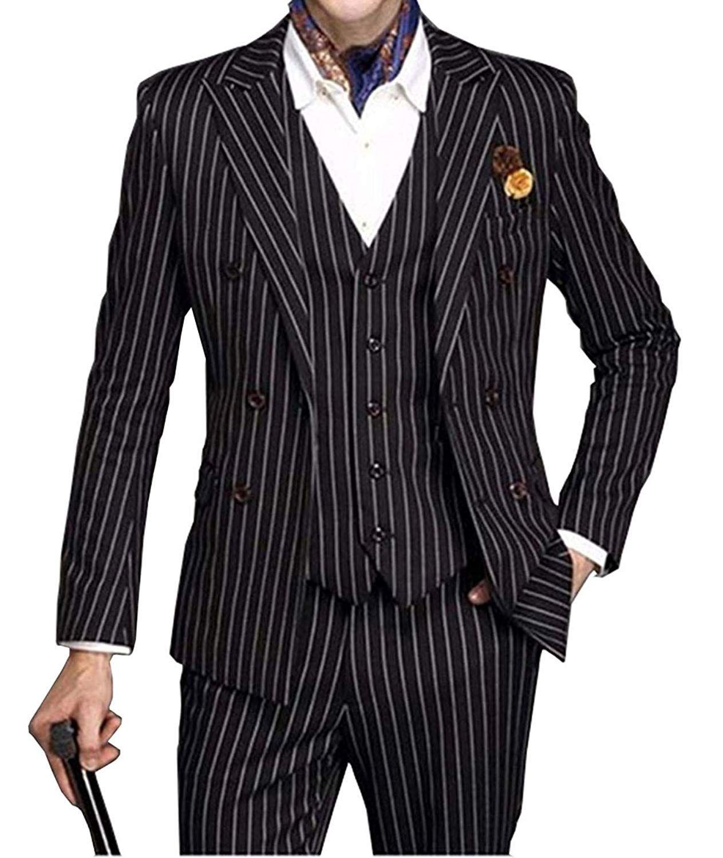 Новая мода 3 шт Groom Tuxedos Двойной Брестед Куртка черная полоса Пик нагрудные Шафер костюм мужские свадебные костюмы