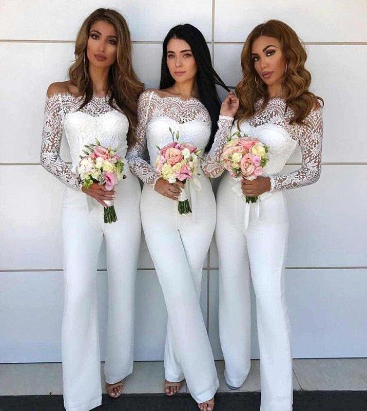 Vestidos de dama de honor de encaje de hombro Vestidos de dama de honor para la boda 2018 Funda sin respaldo Maid of Honor Bods Wedding Guest Pantalones Trajes de los pantalones Custom BA8978