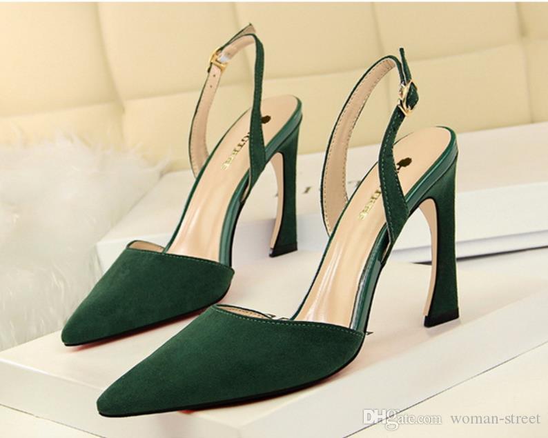 moda donna floccare indietro cinturino sandalo signora scava fuori sexy discoteca fibbia scarpe tacco alto partito femminile scarpe da sposa size34-40