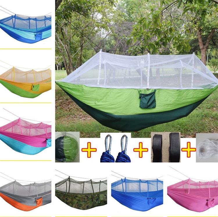Neue Style Moskito Net Hängematte im Freien Fallschirmstuch Feld Outdoor Hängematte Garten Camping Wackeln Hängendes Bett T5i112