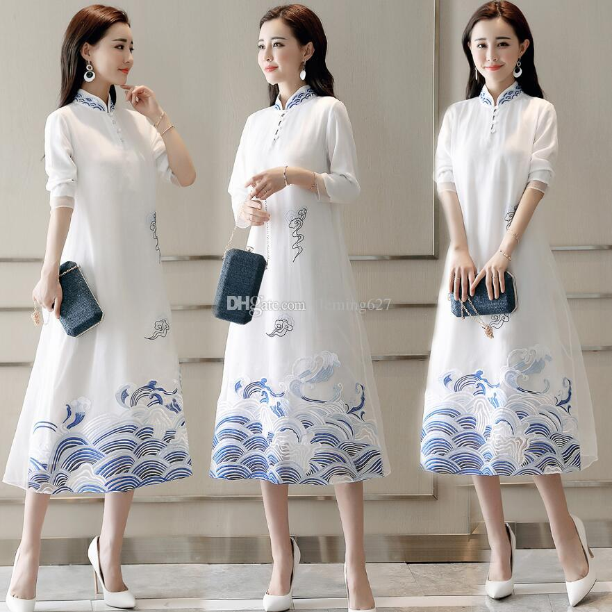 Shanghai Story Modern Qipao Faux Silk traditional dress Chinese Oriental dress Chinese Women's Clothing retro Cheongsam Long casual dress