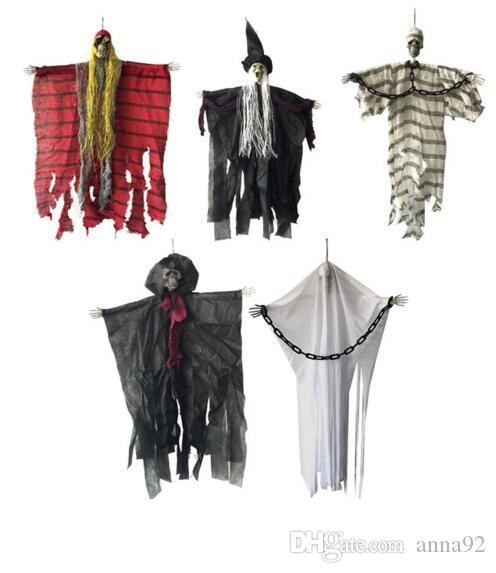 24 inch 60cm Halloween Hanging Pirate Witch Prisoner Reaper Ghost Haunted House Escape Horror Halloween Decorations free shipping wholesale