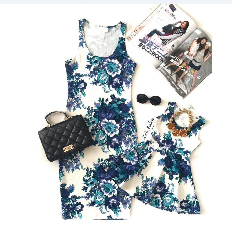 Mama Babies Mother Daughter Floral Dresses Bohemian Style Mom and Daughter Dress Mommy and Me Family Matching Outfits Clothes