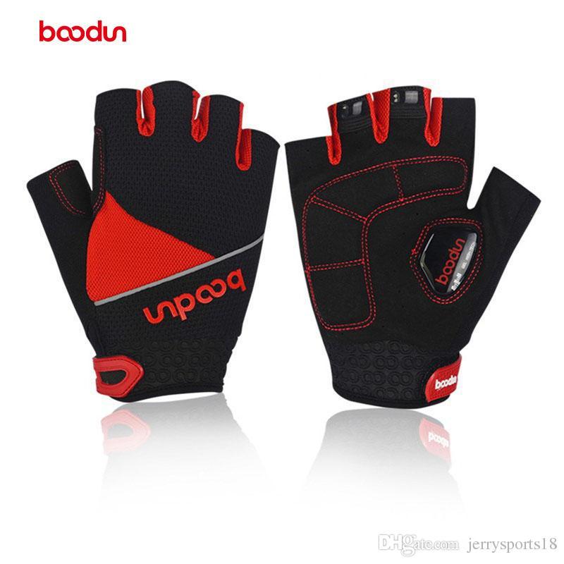 Boodun nuevo estilo guantes de bicicleta medio dedo respirables guantes de ciclismo de verano lycra antideslizante montar bicicleta deportes al aire libre guantes transpirables
