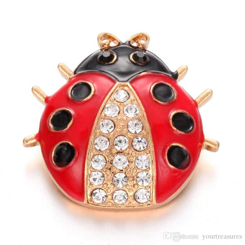 6Pcs New BIG Snap Jewelry Gold Rhinestone Ladybug Metal 18mm Snap Buttons Fit Snap Button Bracelet Bangle Women Buttons Jewelry