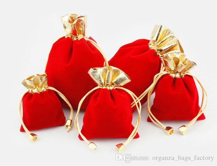 100 pcs lado Ouro VERMELHO Veludo Com Cordão Bolsa Bag / Saco de Jóias de Natal / Sacos de Presente de Casamento