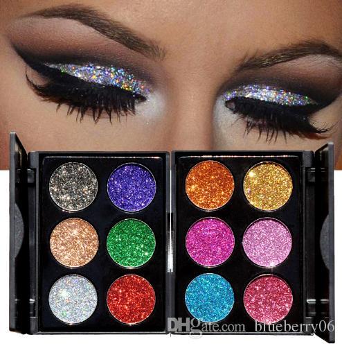 Il nuovo arrivo 2018 di trucco di 6 colori impermeabile Glitter Eyeshadow Palette brillanti Metalli Shimmer Eye Shadow Pigmenti Kit diamante Make Up
