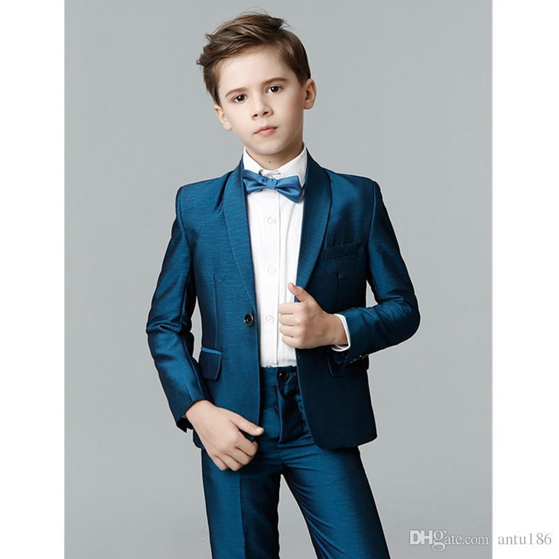 Kalite erkek takım elbise erkek tek düğme şal yaka takım elbise üç parçalı takım (ceket + pantolon + yelek) çocuk parti elbise destek özel