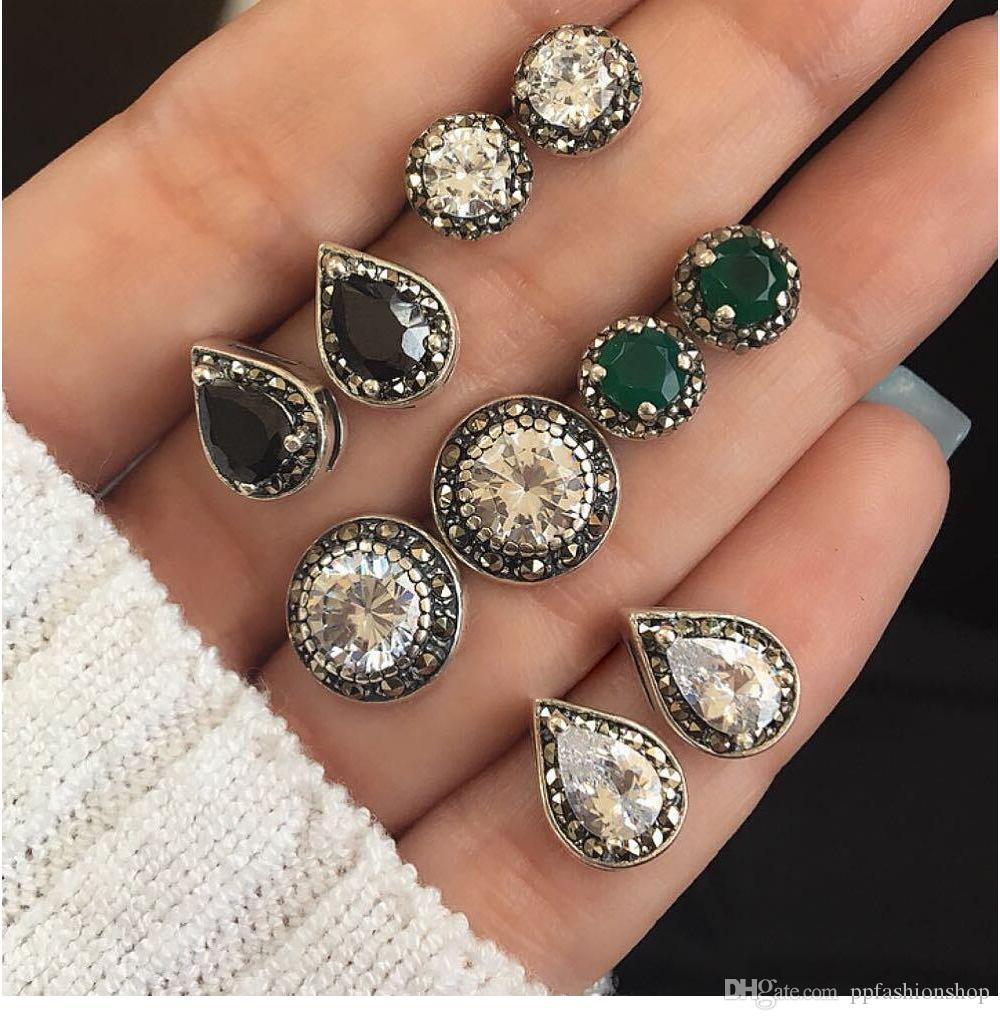 6 paires de boucles d'oreilles bohème fantaisie cubes rétro rétro incrustées de diamants multicolores accessoires livraison gratuite
