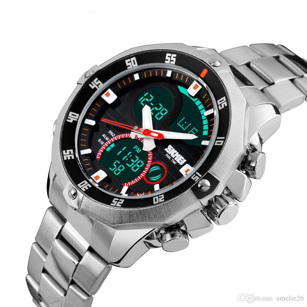 Nova Moda Dual Time Display Watch Homens Esporte Quartz LED Relógios Banda de Aço Analógico Digital Relógios De Pulso Luminosa À Prova D 'Água Relógio Presente