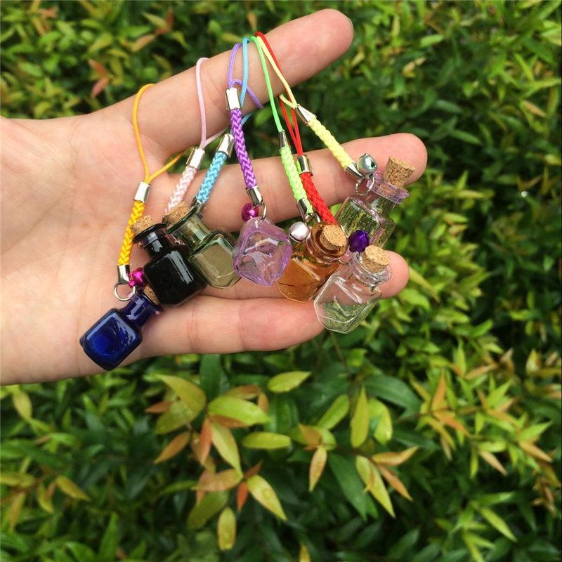 Glass Bottles Charms Rectangle Shape Mini Bell Bracelets Bottles Key Chains Jars Glass Charms Bottles Favor Mixed Colors (2)