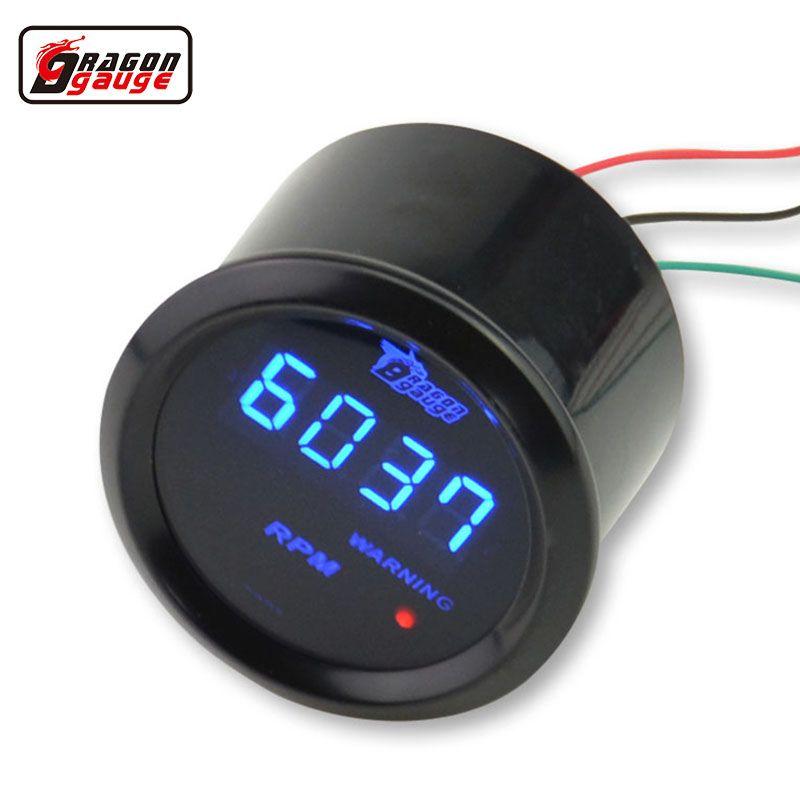 Ejderha ölçer Evrensel 52mm Siyah Kabuk ve Mavi LED backLight Dijital Takometre Ölçer 0-9999 RPM