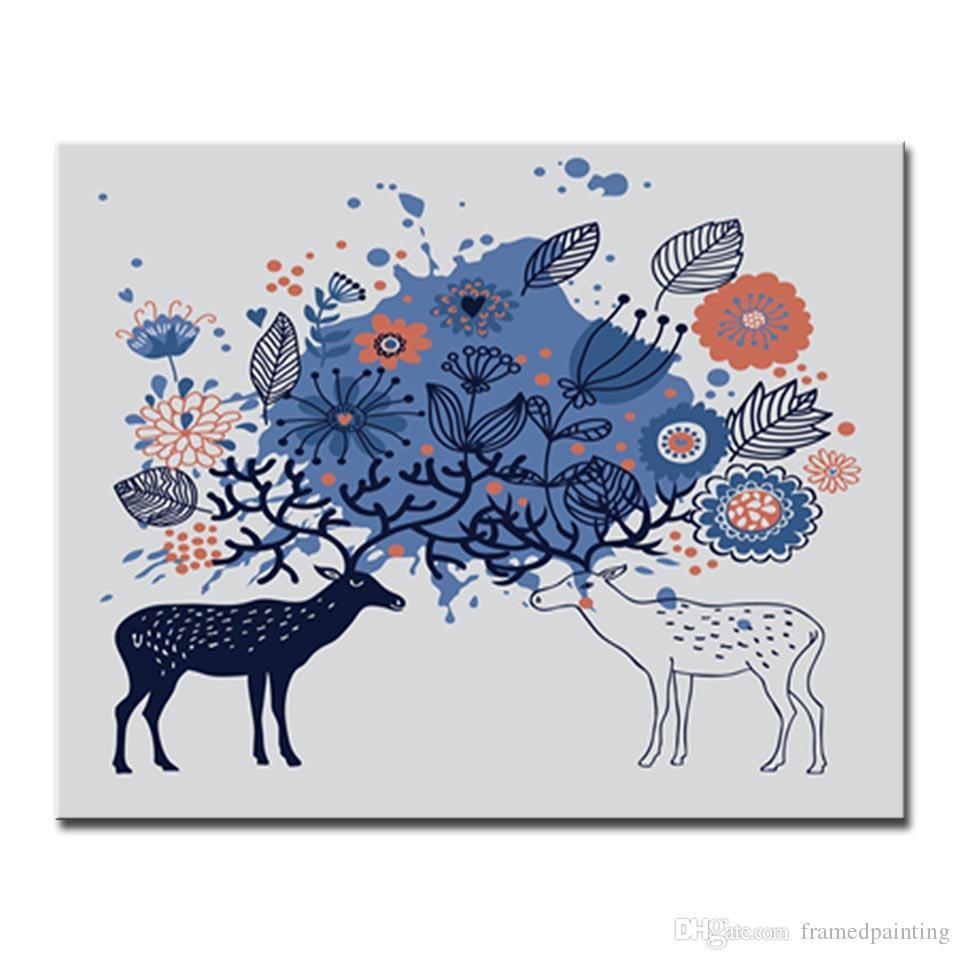 Deer 40*30cm DIY Paint Digital Oil Painting Kit Canvas+Draw Tool Home Room Decor