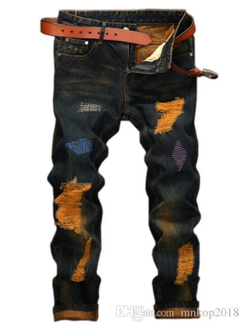 Jeans da motociclista strappati per motociclisti strappati NUOVI uomini di moda VINTAGE pantaloni dritti slim fit uomo moto foro denim hip hop punk streetwear