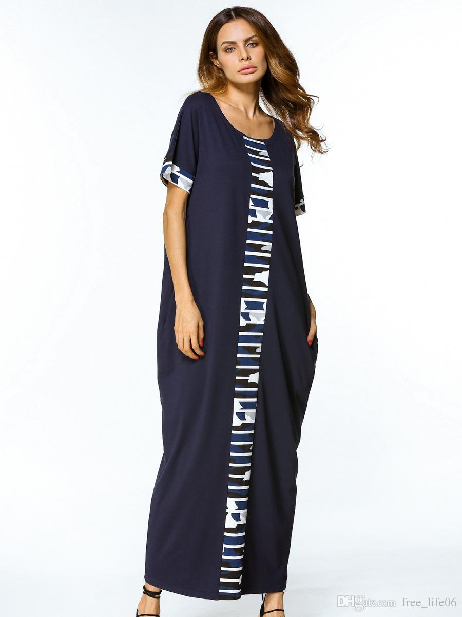 Großhandel Frauen Gerade Maxi Lange Kleid Sommer 20 Lose Beiläufige T  Shirt Kleid Navy Blue Roben Patchwork Print Kleider Zum Verkauf Von