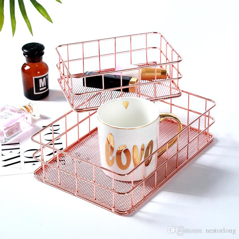 Rose Gold Wire Modern Copper Metal Mesh Storage Basket Kitchen Bedroom Bathroom