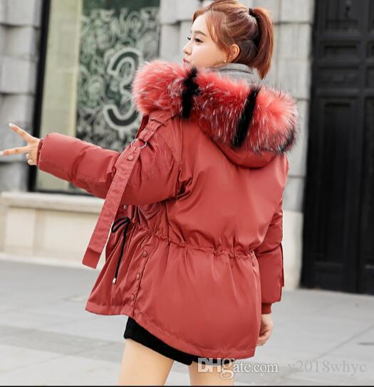 Chaqueta corta de algodón con capucha y cuello alto de piel corta con capucha de invierno Abrigo Parkas