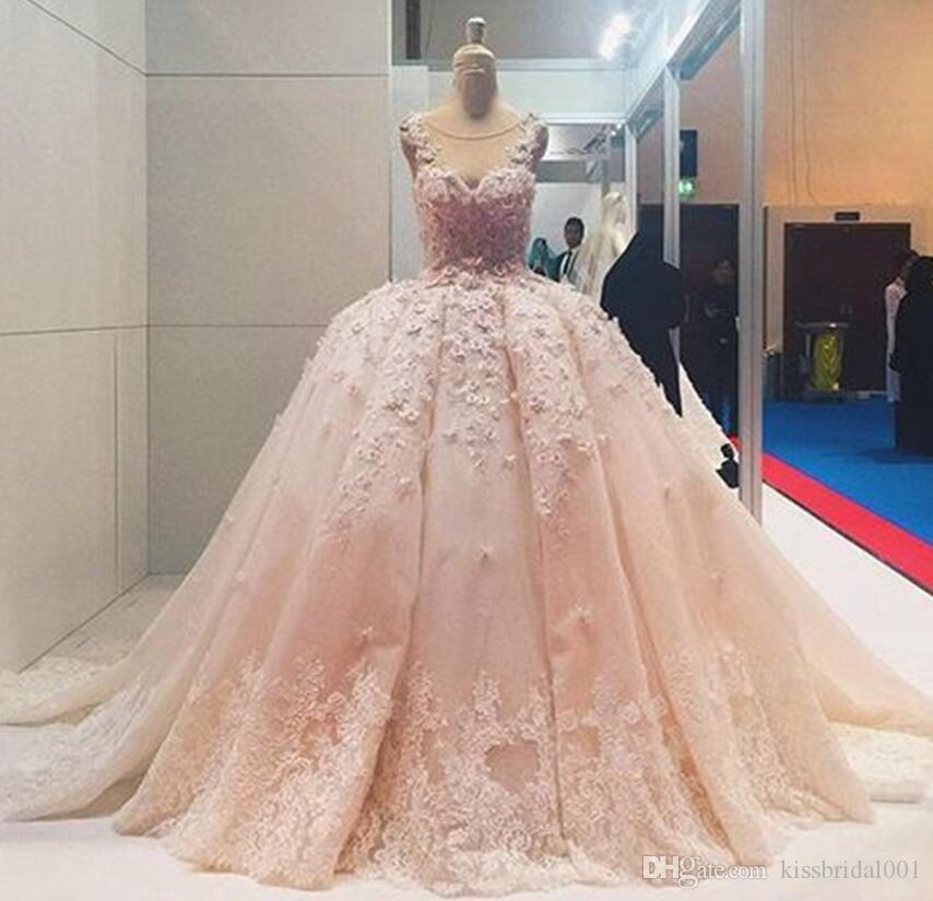 Big Ball Dubai Wedding Dresses Princess Coral Lace Bridal Gowns 3d
