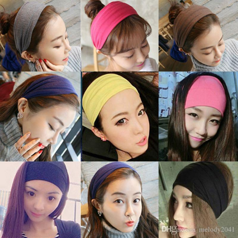 2018 Pure Colors Sport Hairband Elastic Cotton Wide Headband 14 Colors Simple Design Head Wrap With Elastic Cheap Wholesale Melody2041