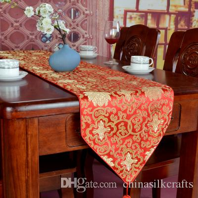 Modern 146 cm Long Chinese Coffee Table Cloth Runner Decoration Table Pad Jacquard Silk Satin Tablecloths Rectangular Tea Mat
