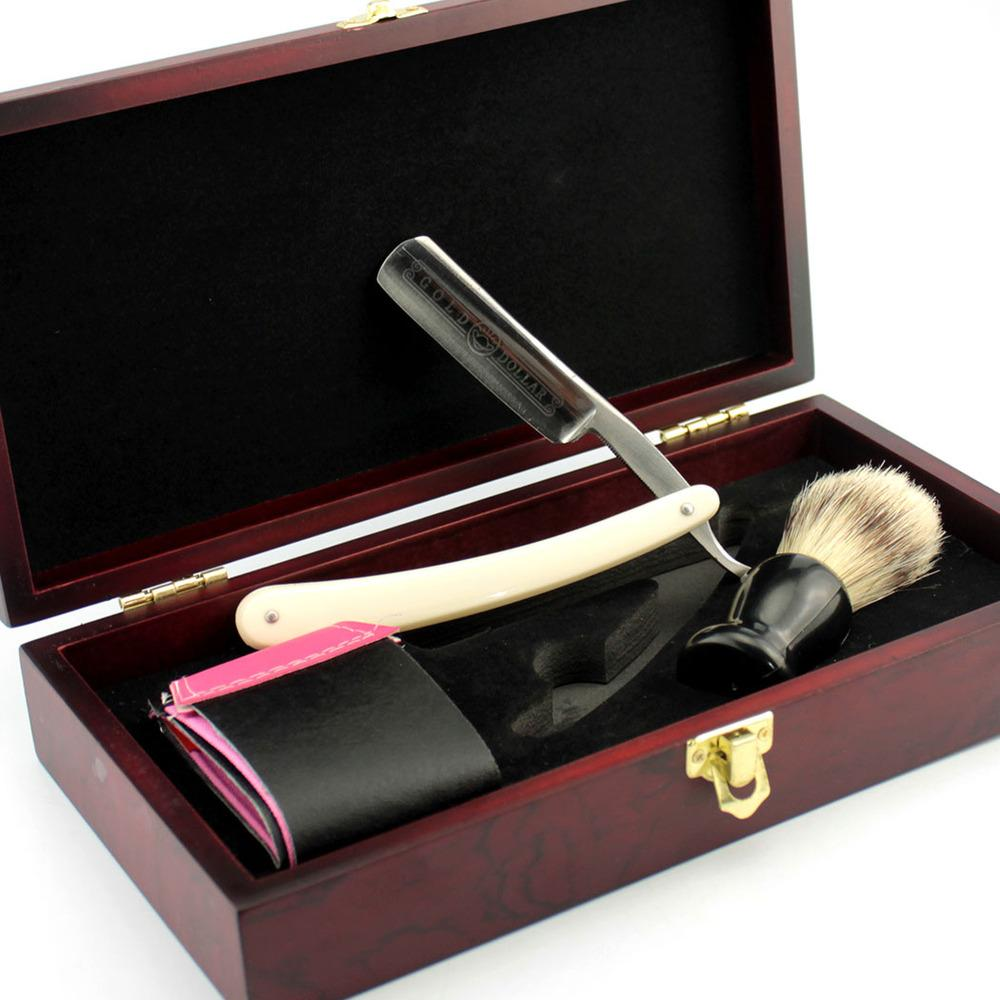 wholesale Vintage Gold Dollar 600 Straight Shaving Razor Set Men Cut Throat Folding Knife Bristle Hair Brush Strop Wooden Gift Box