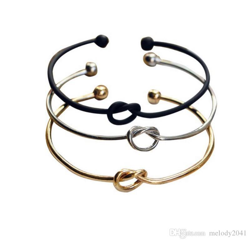 Металлический цинковый сплав розовый золотой цветовой галстук узел браслет браслетов мода простая манжета открытые браслеты 4 цвета регулируемые размеры для женщин