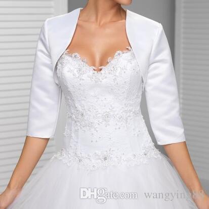 Nach Maß Weiß In der Hülsenhochzeitsjacke Neue Ankunftssatin Bolerojacken für Abendkleider Freies Verschiffen Brautjacke
