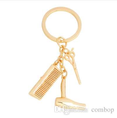 헤어 드라이어 가위 빗 키 체인 여성을위한 골드 실버 미용사 열쇠 고리 패션 헤어 스타일리스트 열쇠 고리 보석 선물