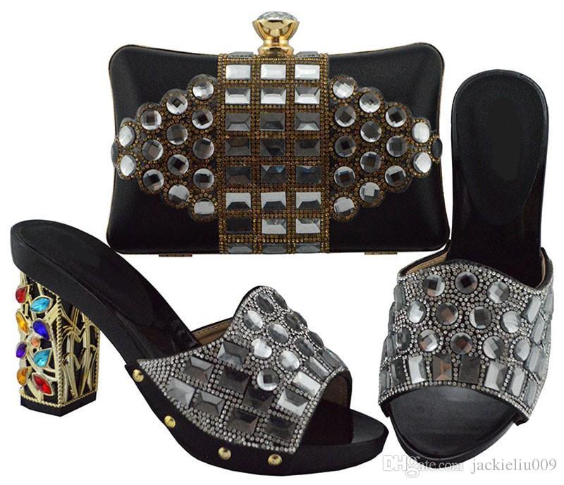 La nueva manera de las mujeres negras bombas y la bolsa con zapatos de cristal africanas gran partido conjunto bolso para FGT003 vestido, 10 cm de tacón