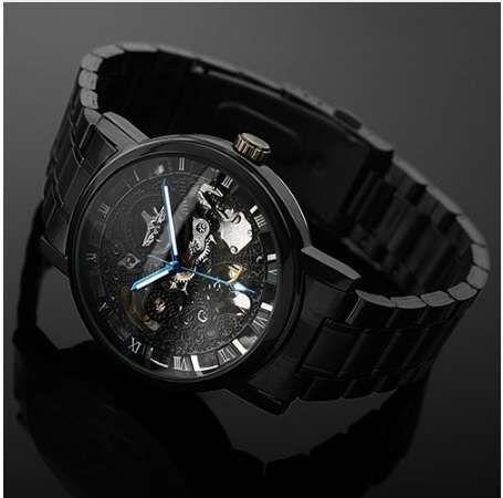 Mode Herrenuhr mechanische Uhr für Männer schwarze Stahlmarke hohle Skeleton Zifferblatt Armbanduhren