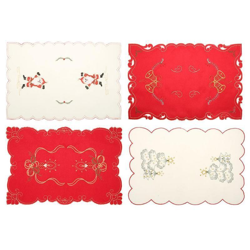 Рождество вышивка стол коврик коврик Коврик для столовых приборов Xmas Party Banquet ужин декор рождественские украшения для дома бесплатная доставка 2018 новый горячий продажа