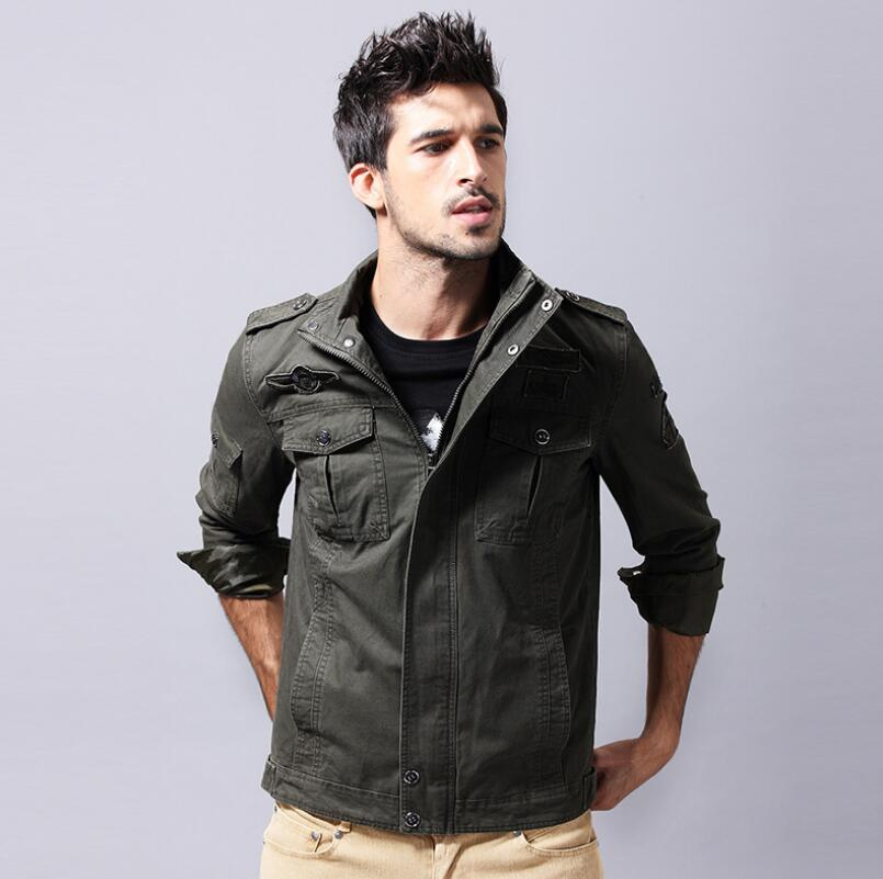 Army Green Men Jacket Coat Stand Collar Jacket Winter Waterproof Solid Color Jackets Windbreaker Male Clothes