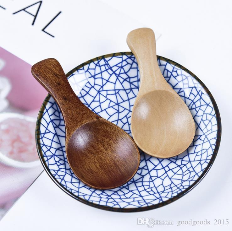 Mini Wooden Spoon Kitchen Spice Spoon Wood Sugar Tea Coffee Scoop Small Short Condiment Spoons Wooden Utensils Cooking Tool c796