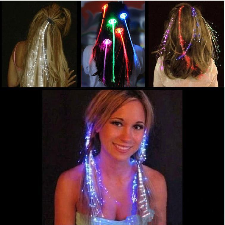 LED Flash Trança Mulheres Coloridas Luminosas Grampos de Cabelo Barrette Fibre Hairpin Light Up Bar Festa Noite Xmas Brinquedos Decor DH0324