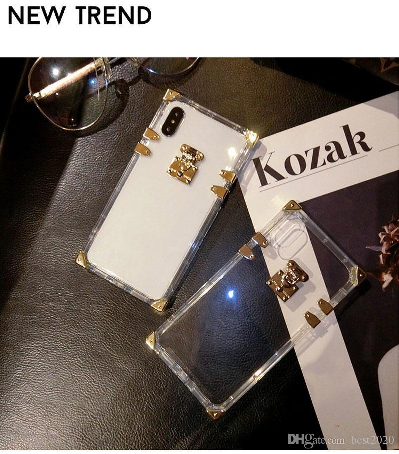 Fashion Popular Transparent Mobile phone Case Square with Lock for iphone 6/6p/7/7p/8/8p/X