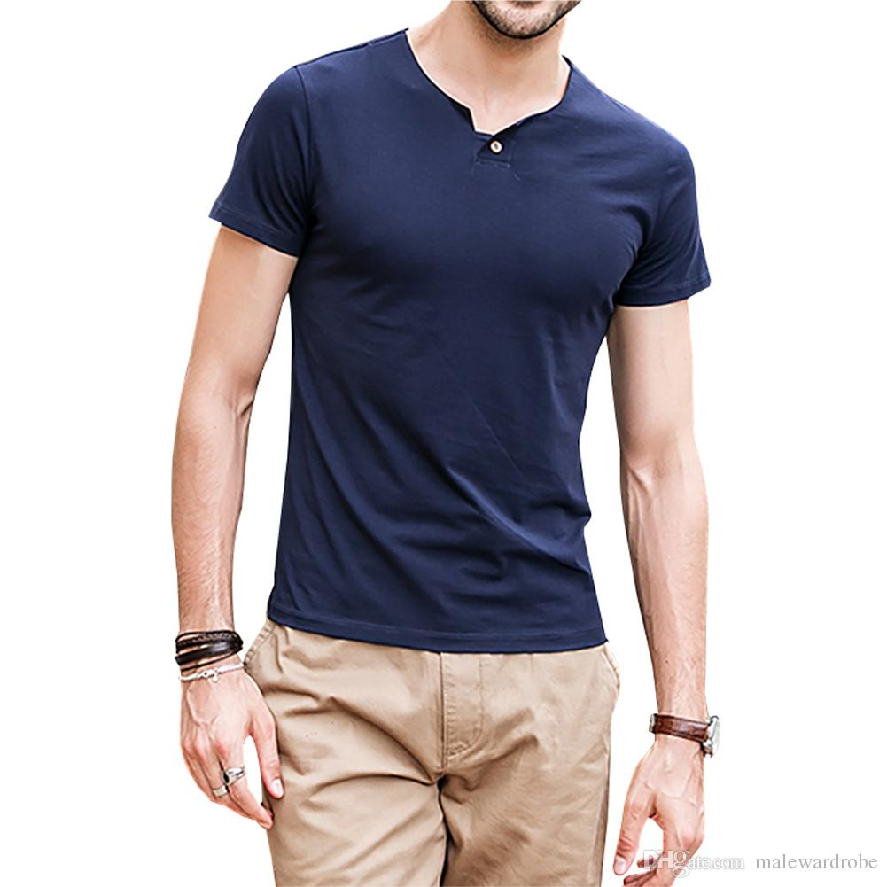 Solid Color Mens Summer Tops Tshirts Single Button Design Hommes Short Sleeve Soft Tees