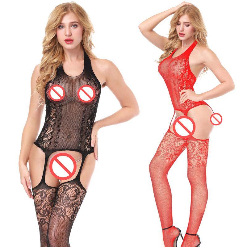 One Piece negro rojo Trajes Catsuit Lencería erótica Sexy Hot Erotic Teddies Body Mujeres Encaje Body Suit Porno Costume Íntimos