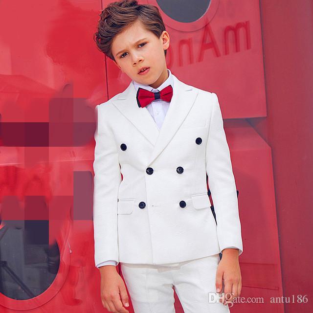 Özel erkek beyaz beyefendi kruvaze takım elbise üç parçalı takım elbise (ceket + pantolon + yelek) çocuk yakışıklı iş resmi takım elbise elbise