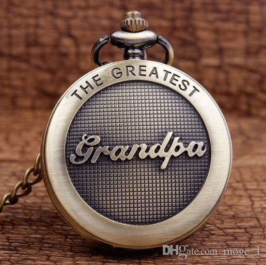 새로운 도착 골동품 그레이트 할아버지 청동 석영 주머니 시계 펜던트 체인 남자 최고 품질의 최고의 선물 P309-1