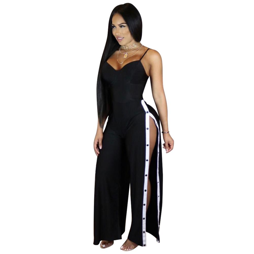 Summer Rompers Womens Jumpsuit Plunge V Spaghetti Strap réglable Salopette Dos nu Jambes longues Pantalon Sexy Night Clubwear